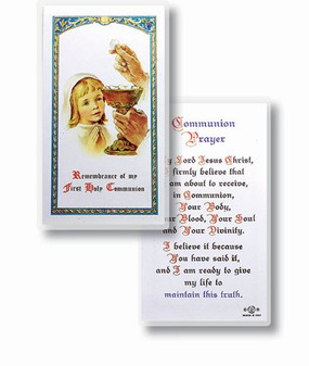 Communion Girl Popular Prayer Laminated Holy Card (E24-671)
