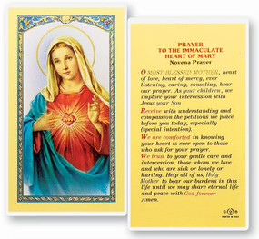 Immaculate Heart of Mary Novena Prayer Laminated Holy Card (E24-201)