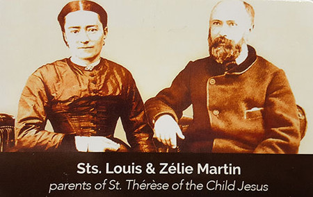 Sts. Louis & Zelie Martin Relic Prayer Card (Front)
