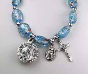 Blue Murano Rosary Stretch Bracelet with Lourdes Water (CM1108SB)