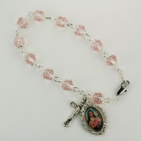 "7.5"" Pink St. Therese  Rosary Bracelet"