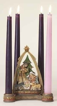 "Advent Nativity with Arch Candle Holder (6.25"")"
