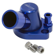 AEROFLOW Billet Swivel Thermostat Housing - Suit Holden V8 - Blue