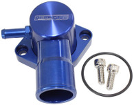 AEROFLOW Billet Swivel Thermostat Housing - Suit Ford EF-FG 6cyl - Blue