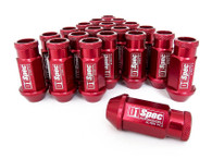 D1 SPEC Aluminium Wheel nut set (20pcs) - 48mm Long - RED M12 x 1.5