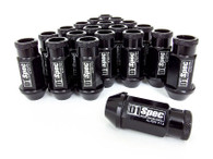 D1 SPEC Aluminium Wheel nut set (20pcs) - 48mm Long - BLACK M12 x 1.25
