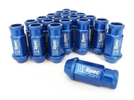 D1 SPEC Aluminium Wheel nut set (20pcs) - 48mm Long - BLUE M12 x 1.25