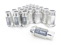 D1 SPEC Aluminium Wheel nut set (20pcs) - 48mm Long - SILVER M12 x 1.25