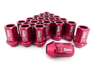 D1 SPEC Aluminium Wheel nut set (20pcs) - 36mm Long - RED M12 x 1.5