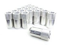 D1 SPEC Aluminium Hex Wheel nut set (20pcs) - 51mm Long - SILVER M12 x 1.25
