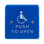 "Bea 10PBS451B 4.5"" Blue Handicap Push To Open Square Push Plate"