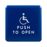 "Bea 10PBS1 4.75"" Blue Handicap Push To Open Square Push Plate"
