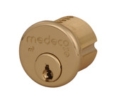 "Medeco 10-0100-606 1"" (1 inch) High Security Mortise Cylinder Satin Brass"