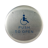 "Bea 10PBR1 6"" Handicap Push To Open Round Push Plate"