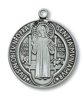 (AN2514BN) ANTIQUE SILVER ST BENEDICT