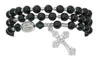 (BR630C) BLACK AGATE TWISTABLE BRACELET