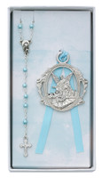 (BS16) BLUE ROSARY & CRIB MEDAL