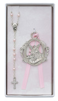 (BS17) PINK ROSARY & CRIB MEDAL