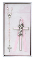(BS50) GIRL'S CROSS & ROSARY SET