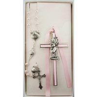 (BS51) PINK GIRL CROSS & SHELL ROSARY