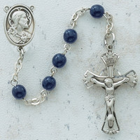 (C38RB) 6MM BLUE GLASS ROSARY