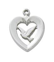 "(L638) SS HEART W/DOVE, 18"" CH & BX"
