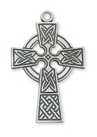 (L9031) SS CELTIC CROSS 24 CHAIN & BOX
