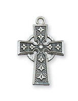 (L9045) SS CELTIC CROSS 18 CHAIN&BOX""