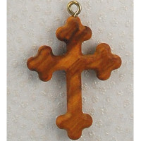 (760-85) OLIVE WOOD CROSS PENDANT