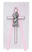 "(PW14-P) 3 1/2"" PINK GIRL CRIB CROSS"