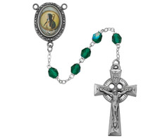 (R186DF) 6MM GREEN ST. BRIGID ROSARY