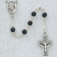 (R321DG) 5MM BLACK GLASS ROSARY CELTIC