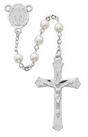 (R439RF) 6MM PEARL ROSARY WITH RHODIUM
