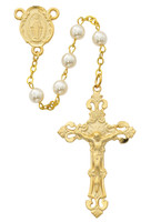 (R491HF) GP PEWTER AND PEARL ROSARY