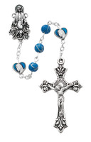 (R506SF) 6MM BLUE ROSARY W/ BLUE HEART