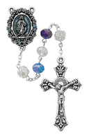 (R507SF) MULTI BLUE CRYSTAL ROSARY WITH