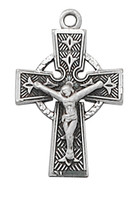 (L9184) SS CELTIC CRUCIFIX 18 CH&BX""