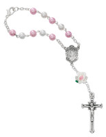 (AR75C) WHITE & PINK PEARL AUTO ROSARY