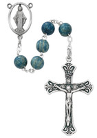 (R631F) 7MM BLUE WOOD ROSARY, BOXED