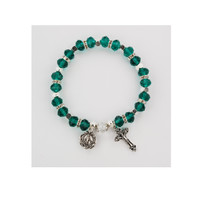 (BR811C) EMERALD ROSARY BRACELET CARDED