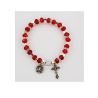 (BR813C) RUBY ROSARY BRACELET, CARDED
