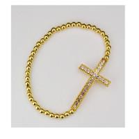(BR84) GOLD CROSS STRETCH BRACELET