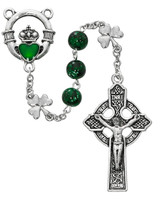 (R650F) 8MM GREEN SHAMROCK ROSARY
