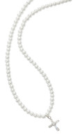 "(NK132C) 16"" PEARL & CRYSTAL CROSS NECK"