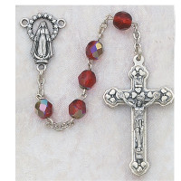 (120-RUX) 6MM AB RUBY/JULY ROSARY W/CNTR