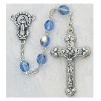 (120-ZRC) 6MM AB ZIRCON/DECEMBER ROSARY