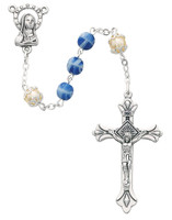 (170-BLX) 6MM BLUE & PEARL CAPPED ROSARY