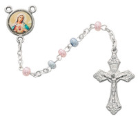 (643C) 3MM PINK AND BLUE ROSARY
