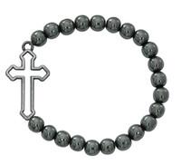 (BR932C) HEMATITE CROSS STRETCH BRACE