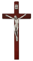 "(80-183) 10"" CHERRY STAINED CRUCIFIX"